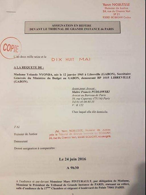 FRANCE-PLAINTE DE YOLANDE NYONDA CONTRE LE JOURNALISTE GABONAIS JONAS MOULENDA