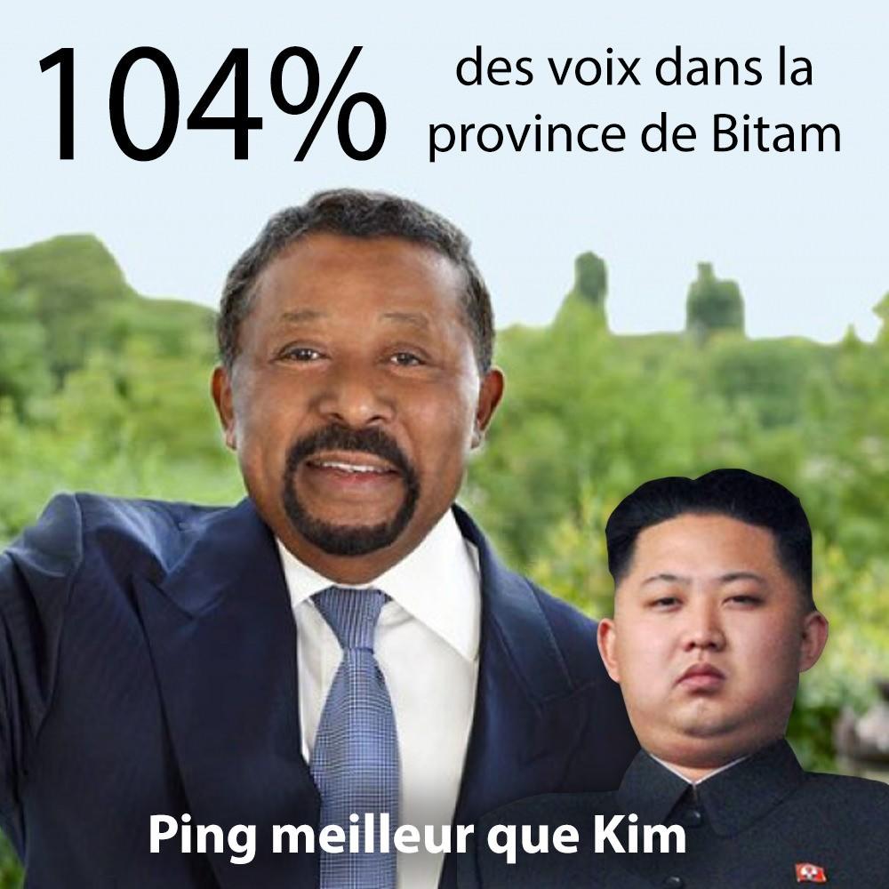 élection présidentielle au Gabon-Bitam 104% pour Jean Ping