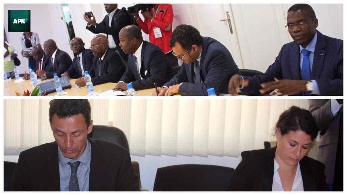 Les membres du gouvernement gabonais (au dessus) face aux analystes de la CPI